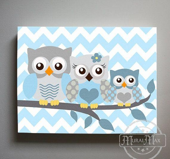 Wall Art Designs: Large Owl Canvas Owl Decor Boys Wall Art Owl In Baby Room Canvas Wall Art (Image 20 of 20)