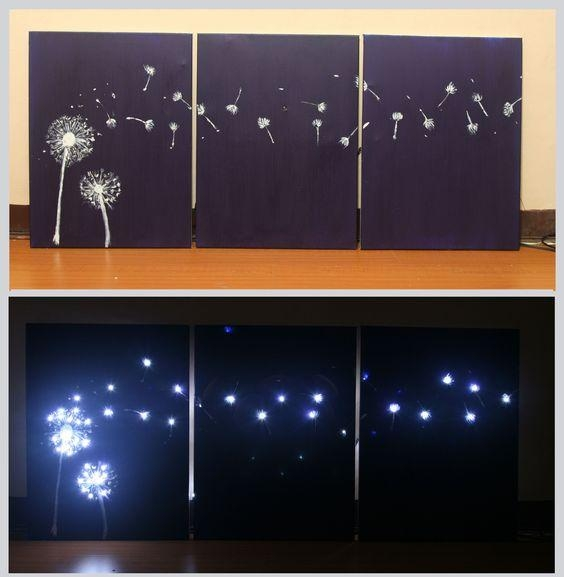 Wall Art Designs: Lighted Wall Art Design Three Panel Light Up With Dandelion Canvas Wall Art (Image 18 of 20)