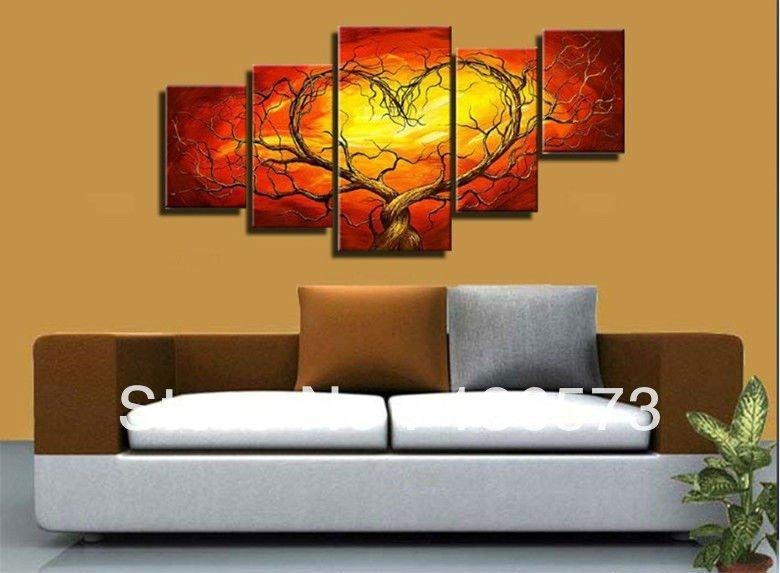 Wall Art Designs: Living Room Wall Art Hand Painted Sexy Wall Pertaining To Abstract Heart Wall Art (Image 20 of 20)