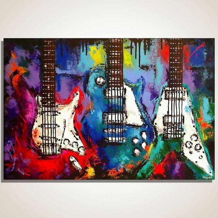 Wall Art Designs: Painting On Guitar Canvas Wall Art Hanging Bass Intended For Music Canvas Wall Art (View 19 of 20)