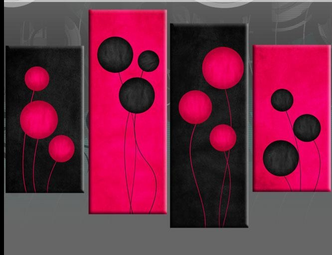 Wall Art Designs: Pink Wall Art Deep Pink Black 4 Panel Deep With Pink Canvas Wall Art (Image 14 of 20)
