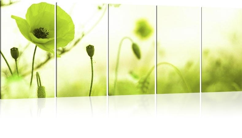 Wall Art Designs: Poppy Field 1, Top 20 Green Wall Art Olive Green Within Lime Green Canvas Wall Art (Image 16 of 20)