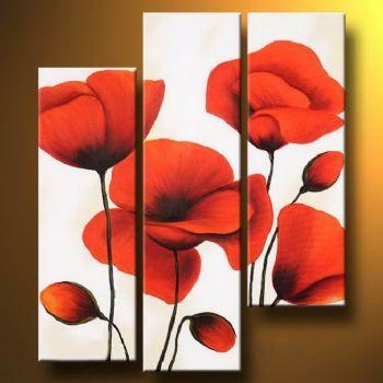 Wall Art Designs: Poppy Wall Art Modern Canvas Art Floral Oil For Poppies Canvas Wall Art (Image 20 of 20)