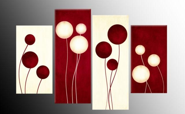 Wall Art Designs: Red Canvas Wall Art Circles Flowers Style Intended For Canvas Wall Art In Red (Image 17 of 20)
