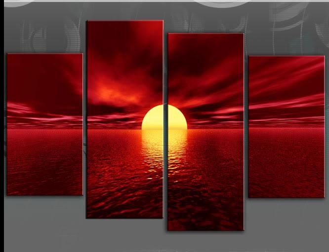 Wall Art Designs: Red Canvas Wall Art Hand Painted Large Seascape Throughout Large Red Canvas Wall Art (Image 11 of 14)