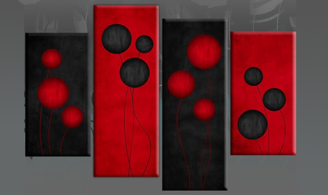 Wall Art Designs: Red Canvas Wall Art Red Black Circles Flowers Regarding Large Red Canvas Wall Art (Image 12 of 14)
