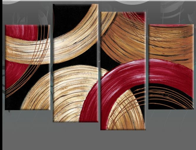 Wall Art Designs: Red Wall Art Circles Gold Beige And Red Abstract Regarding Grey Abstract Canvas Wall Art (View 2 of 20)