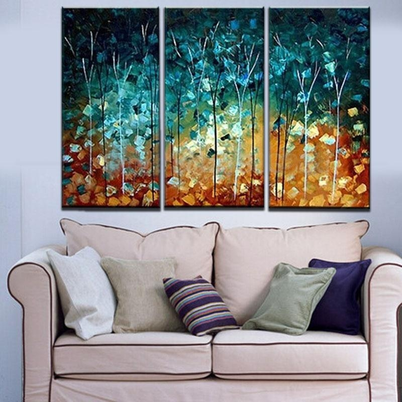 Wall Art Designs: Three Piece Wall Art Hand Made Painting Thin For Abstract Canvas Wall Art Iii (Image 15 of 20)