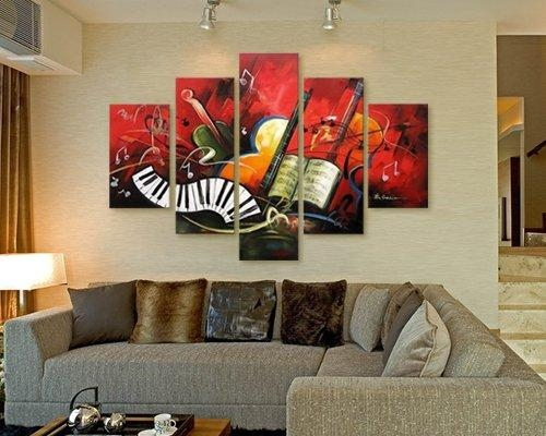 Wall Art Designs: Wall Art Painting Hand Painted Artwork The Music Regarding Music Canvas Wall Art (View 15 of 20)