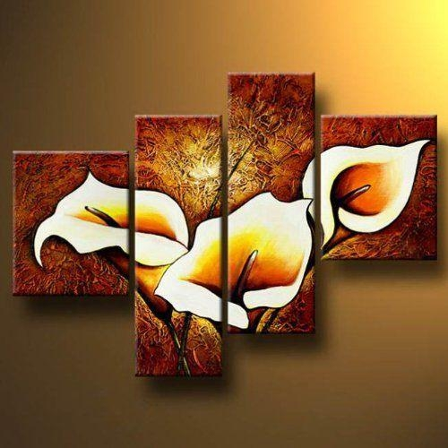 Wall Art Designs: Wall Art Paintings 4 Panels Modern Hand Painted For Hand Painted Canvas Wall Art (Image 18 of 20)