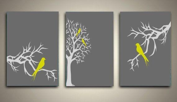 Wall Art Designs: Yellow And Gray Wall Art Bird Pictures Walls Pertaining To Grey Canvas Wall Art (View 10 of 20)