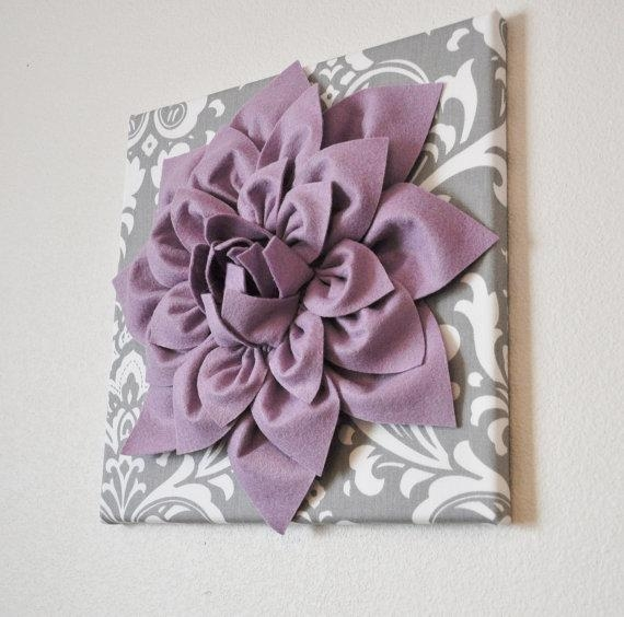 Wall Art Lilac Purple Dahlia On Gray And White Damask 12 With Lilac Canvas Wall Art (View 3 of 20)
