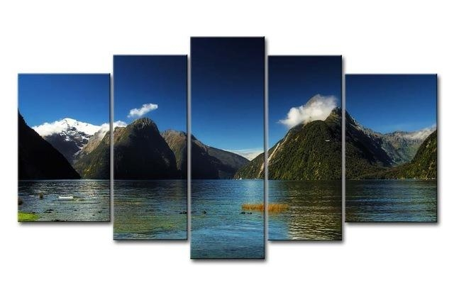 Wall Art Painting Pictures 5 Piece Milford Sound New Zealand Blue For New Zealand Canvas Wall Art (Image 20 of 20)