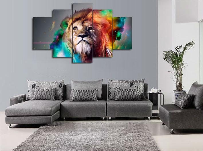 Wall Art Paintingnumbers Colour Lion Animal Canvas Prints Throughout Living Room Canvas Wall Art (Image 20 of 20)