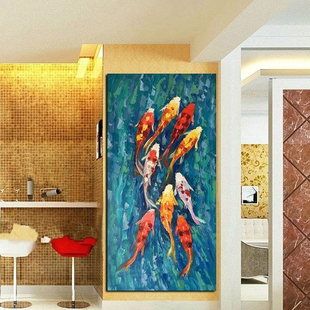 Wall Art Picture Hd Print Chinese Abstract Nine Koi Fish Landscape Pertaining To Abstract Fish Wall Art (View 7 of 20)