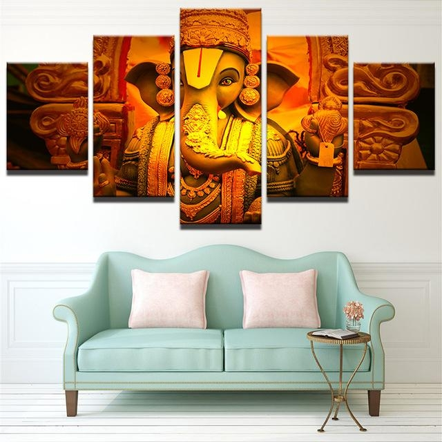 Wall Art Pictures Living Room Frame Modern Hd Printed 5 Piece With India Canvas Wall Art (Image 16 of 20)