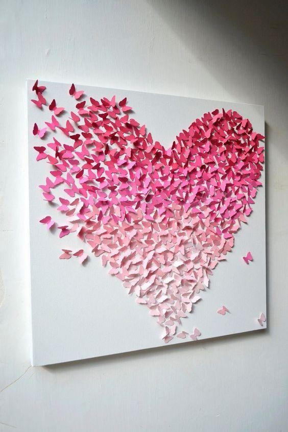 Wall Art: Sample Ideas Butterfly Canvas Wall Art Butterfly Oil Throughout Pink Canvas Wall Art (Image 20 of 20)