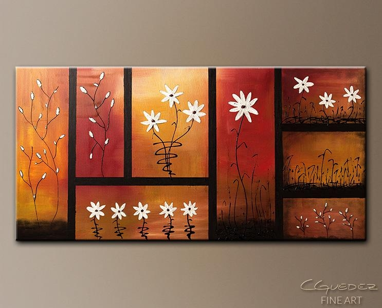 Wall Art|Landscape And Flowers Art|Oil Modern Abstract Art Regarding Abstract Garden Wall Art (Image 20 of 20)