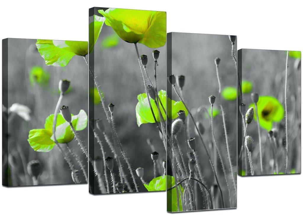 Wall Arts ~ Green Flower Embellished Canvas Wall Art Pale Green Within Embellished Canvas Wall Art (Image 17 of 20)