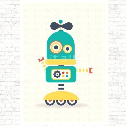 Wall Arts ~ Retro Robot Wall Art Kid Robot Wall Art Robot Canvas Inside Robot Canvas Wall Art (Image 17 of 20)