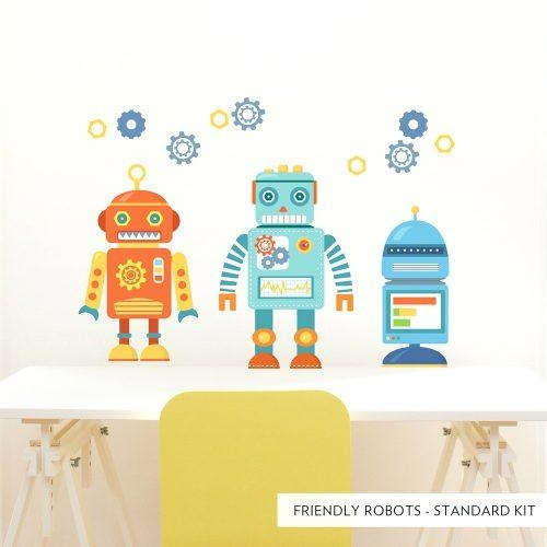 Wall Arts ~ Standard Friendly Robots Printed Wall Decal Robot With Regard To Robot Canvas Wall Art (Image 19 of 20)