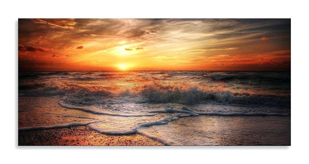 Wall Arts ~ Sun Seascape Canvas Orange Yellow Tide Panorama Canvas Pertaining To Panoramic Canvas Wall Art (Image 20 of 20)