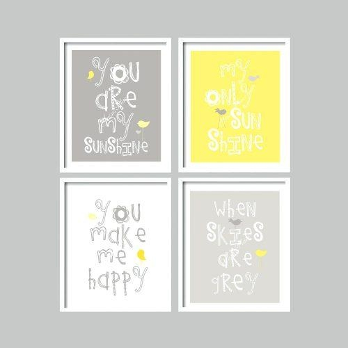 Wall Arts ~ Yellow And Gray Art Prints You Are My Sunshine Nursery For Personalized Nursery Canvas Wall Art (View 15 of 20)