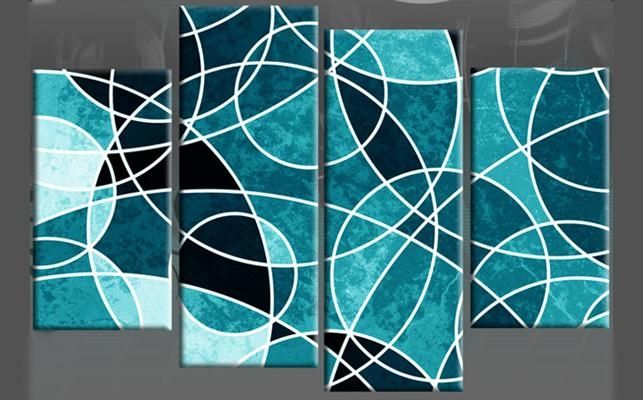 Wall Canvas Circles | Circles Upon Circles Teal Abstract 4 Panel With Blue Canvas Wall Art (Image 20 of 20)