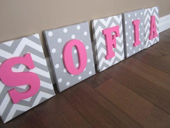 Wall Canvas Letters, Nursery Decor, Nursery Letters, Wooden Within Letters Canvas Wall Art (Image 20 of 20)