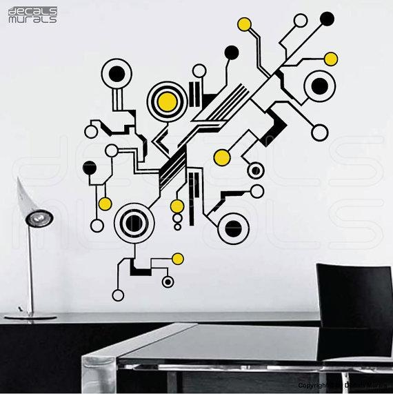 Wall Decals Large Tech Shapes Abstract Circuit Shaped Vinyl Art For Abstract Office Wall Art (View 11 of 20)