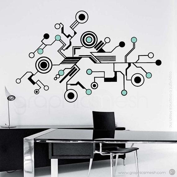 Wall Decals Large Tech Shapes Abstract Circuit Shaped Vinyl Pertaining To Abstract Graphic Wall Art (Image 20 of 20)