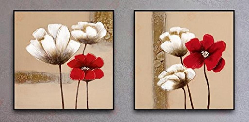 Wall Decor Canvas Prints Wieco Art Red And White Flowers Black Regarding Canvas Wall Art Of Flowers (View 7 of 20)
