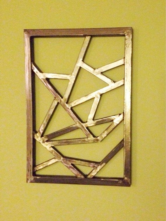 Wall Decor : Metal Wall Art Abstract Decor Contemporary Modern Pertaining To Abstract Geometric Metal Wall Art (View 5 of 20)