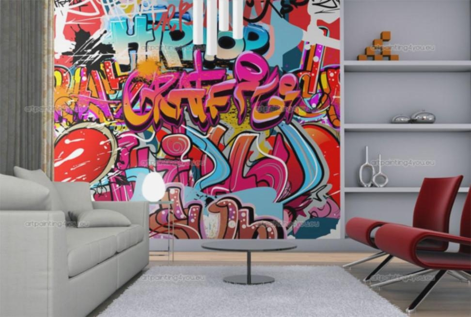 Wall Murals Graffiti Music Canvas Prints Posters – Lentine Marine Inside Graffiti Canvas Wall Art (Image 19 of 20)