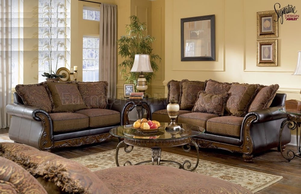 Walnut Fabric And Faux Leather Sofa & Loveseat Setashley For Leather And Cloth Sofas (Image 10 of 10)