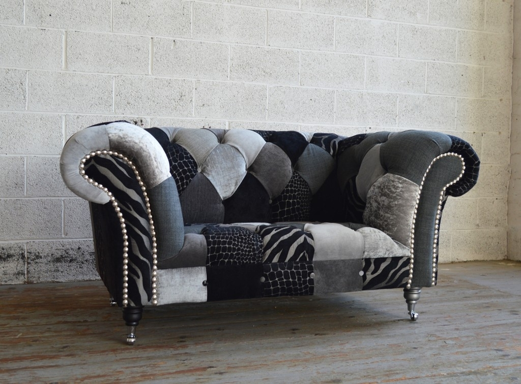 Walton Patchwork Chesterfield Snuggle Chair | Abode Sofas In Snuggle Sofas (Image 10 of 10)