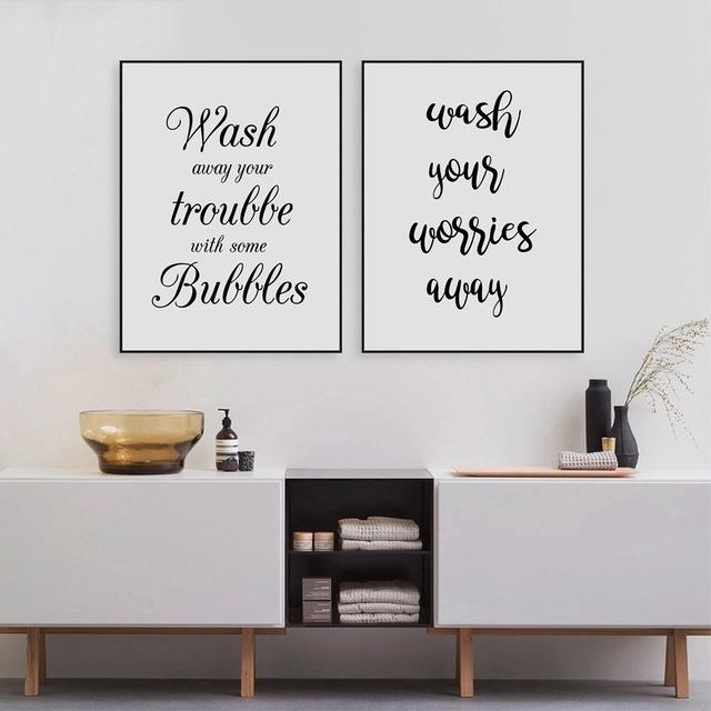 Wash Your Worries Away Quote Wall Art Canvas Print And Poster Pertaining To Bathroom Canvas Wall Art (View 7 of 20)