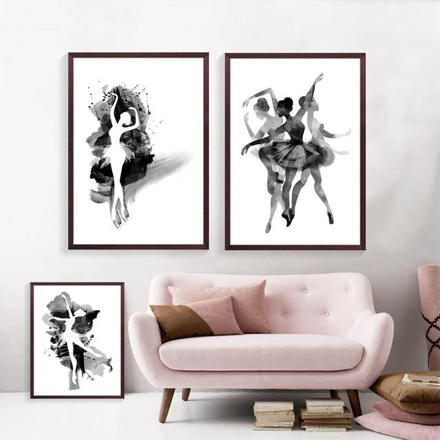 Watercolor Ballerina In Dance Canvas Wall Art Print Poster, Black Inside Dance Canvas Wall Art (Image 18 of 20)
