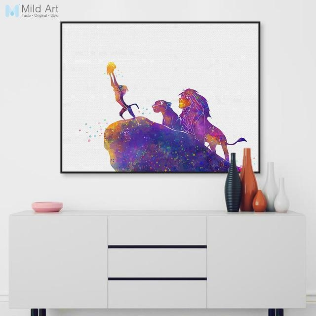 Watercolor Cartoon Pop Movie Animals Lion King Canvas A4 Art Print Throughout Lion King Canvas Wall Art (Image 19 of 20)