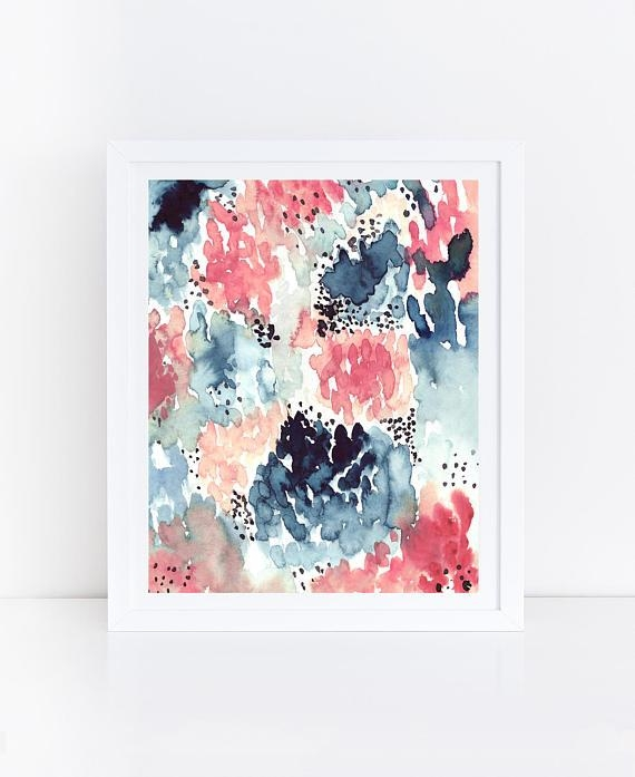 Watercolor Flowers Printable Abstract Art Print Floral Throughout Printable Abstract Wall Art (Image 20 of 20)
