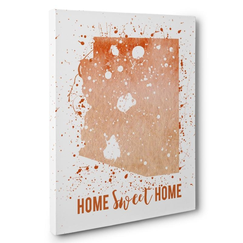 Watercolor Paint Splatter Arizona Canvas Wall Art – Paper Blast For Arizona Canvas Wall Art (Image 20 of 20)