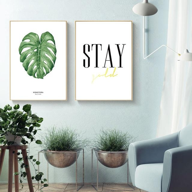 Watercolor Plant Leaves Motivational Canvas Posters Canvas Art With Regard To Leaves Canvas Wall Art (Image 19 of 20)