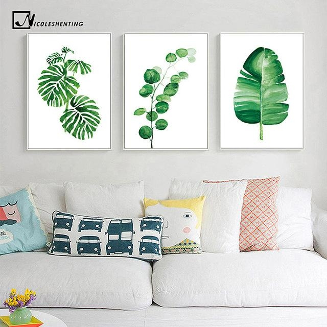 Watercolor Tropical Plants Leaves Wall Art Canvas Posters And Throughout Leaves Canvas Wall Art (Image 20 of 20)