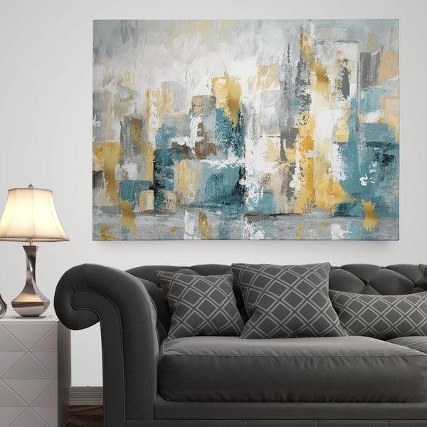 Wexford Home 'city Views I' Premium Gallery Wrapped Canvas Wall For Overstock Abstract Wall Art (Image 20 of 20)