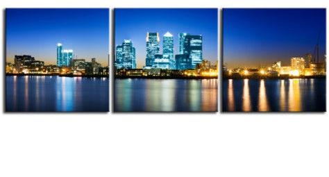 Wharf London Triptych City Canvas 60 X 20 Inch Wall Art Print Within Canvas Wall Art Of London (View 7 of 20)
