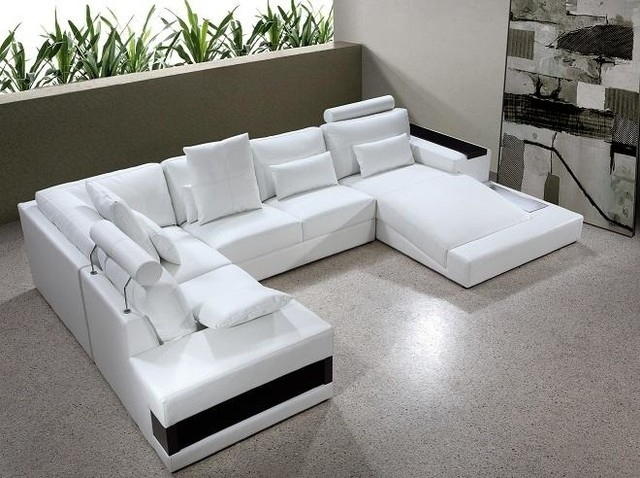 White Bonded Leather Sectional Sofa With Built In Lights – Modern Within White Sectional Sofas (Image 7 of 10)