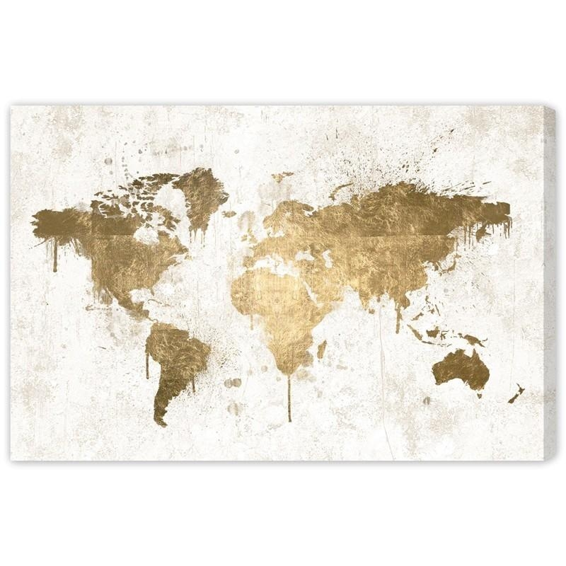 White Gold Mapamundi Canvas Wall Art – Rosenberryrooms With Regard To Gold Canvas Wall Art (Image 19 of 20)