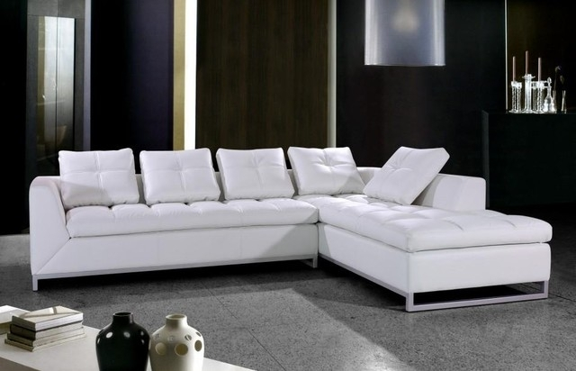 White Leather Sectional Sofa With Chrome Legs – Modern – Living Room Pertaining To White Sectional Sofas (Image 9 of 10)