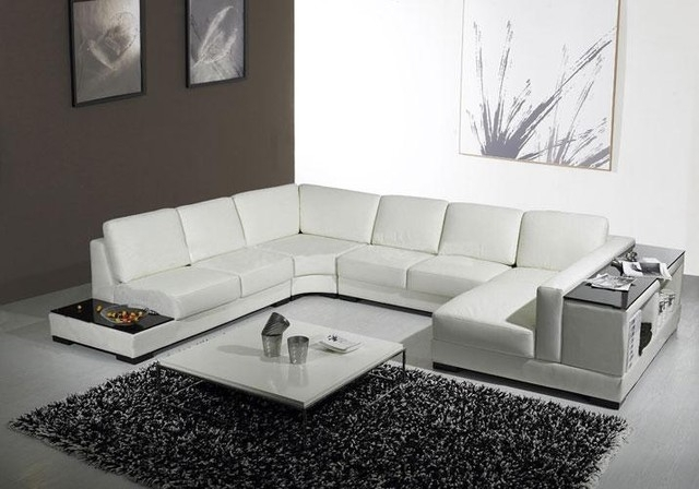 White Leather U Shaped Sectional Sofa With Storage – Modern – Living With Modern U Shaped Sectional Sofas (Image 10 of 10)