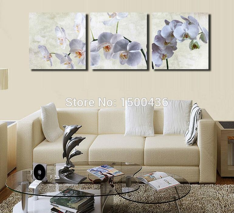White Orchid Flower Print Painting Oil On Canvas Wall Art 3 Piece Pertaining To Orchid Canvas Wall Art (Image 20 of 20)